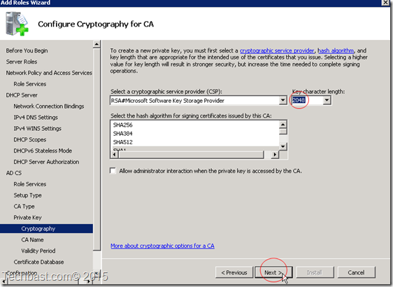Configure cryptographly for CA