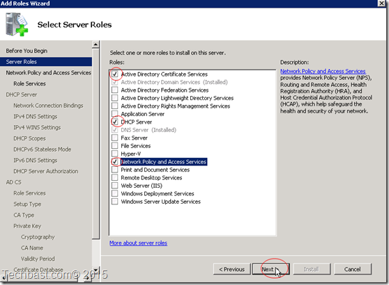 add roles Certificate-Network Policy-DHCP