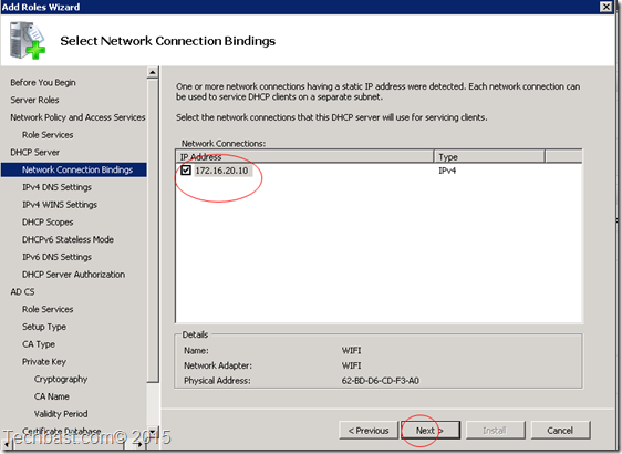 network connection bindings DHCP