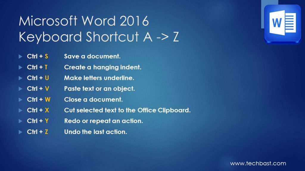 Undo shortcut word