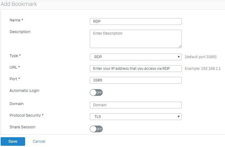Sophos XG Firewall: How to configure RDP Bookmarks with Clientless