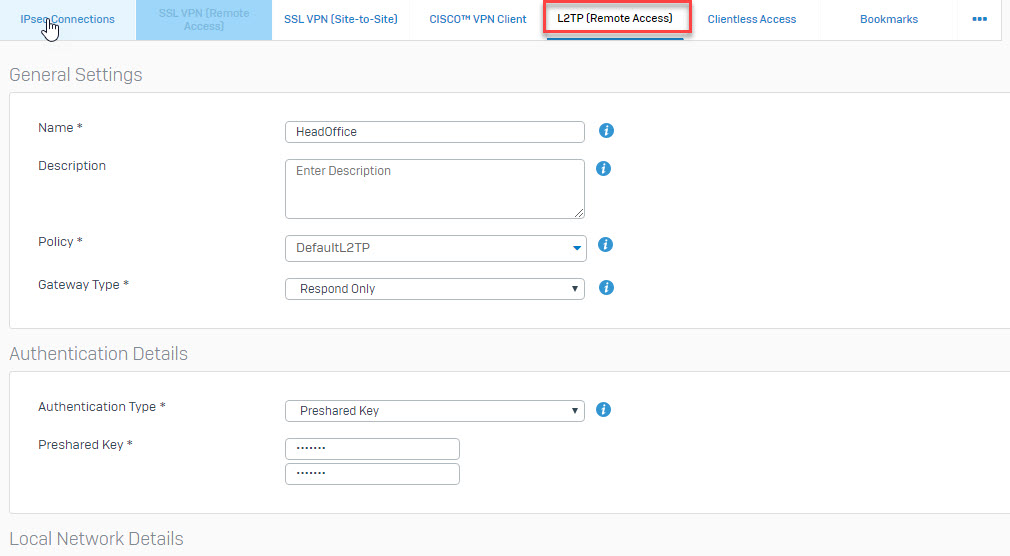 Sophos XG Firewall: How to configure an L2TP VPN remote