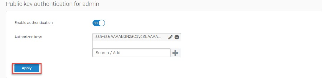 Sophos Firewall: How to set up public key authentication for