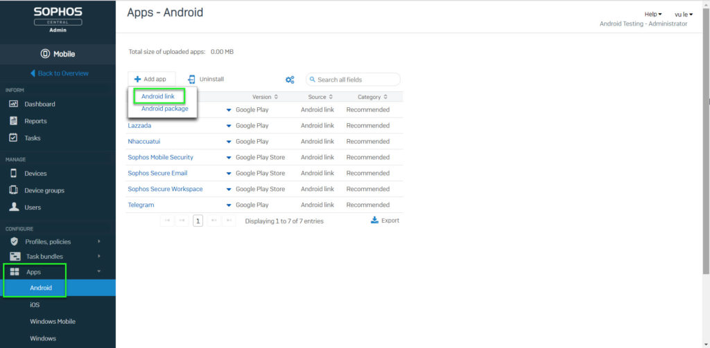 Sophos Mobile: How to install an app using Sophos Central