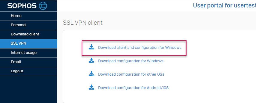 download client and configuration for windows