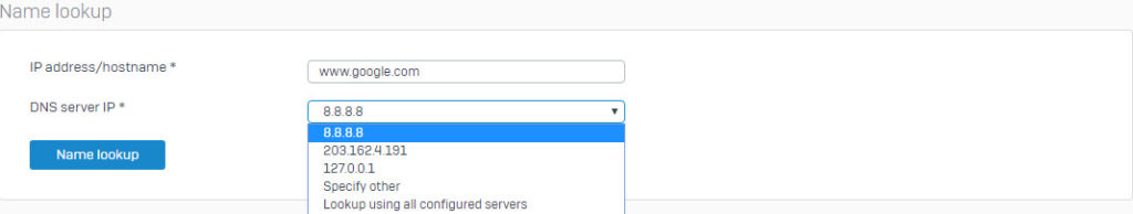 Sophos XG Firewall : How to perform a DNS lookup – Techbast