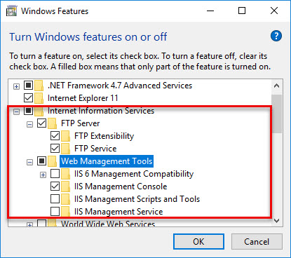 Instructions for setting up and managing FTP Server on